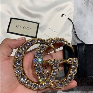 Gucci Accessories - Gucci Crystal Embellished GG Logo Leather Belt